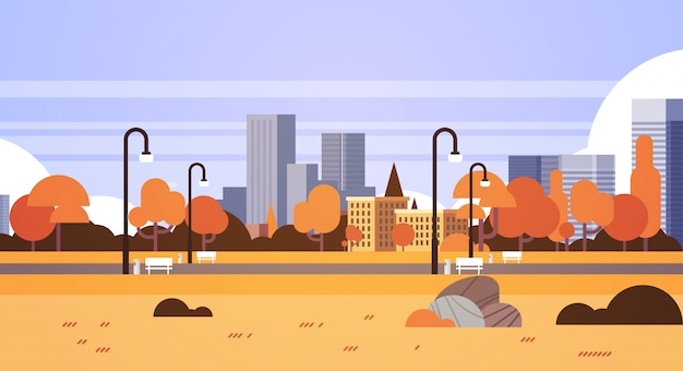 Autumn urban yellow park outdoors city buildings street lamps cityscape concept horizontal flat