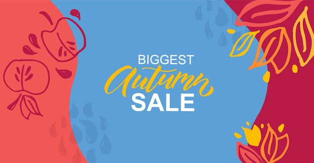 Autumn vector background with lettering typography of autumn sale autumn sale banner poster eps10