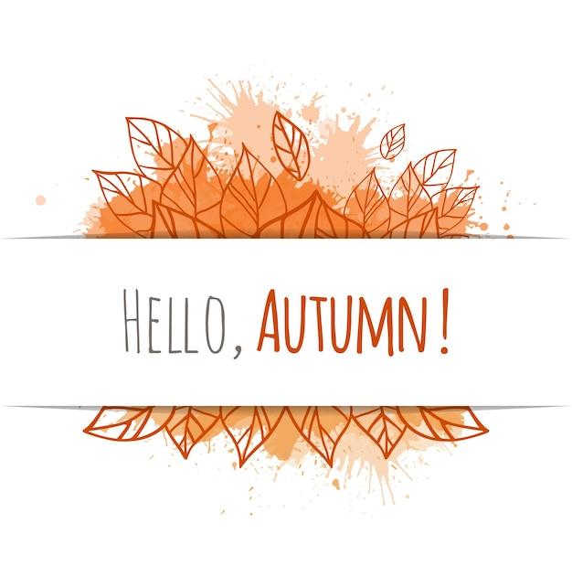Осенняя векторная карта с листьями каракули и желтыми вкраплениями. привет осень