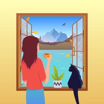 Осенний вектор концепции. девушка и кошка смотрят в окно. красно-оранжевые кисти, осенняя природа и молодая женщина