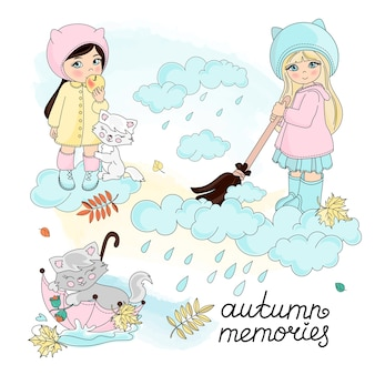 Autumn vector illustration set color autumn children