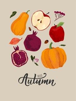 가 벡터 집합입니다. 수확, 석류, 사과, 호박, 밝은 잎, 마가목, 도토리.