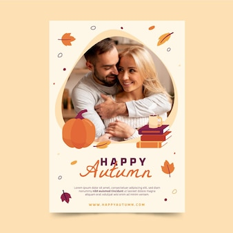 Autumn vertical flyer template with photo