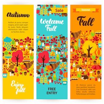 Autumn vertical flyers. vector illustration of brand identity. fall season concept.
