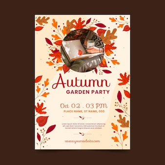 Autumn vertical poster template with photo