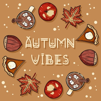 Autumn vibes decorative wreath cute cozy card