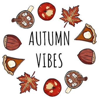 Autumn vibes decorative wreath cute cozy card