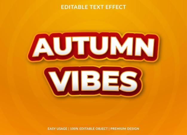 가을 분위기 편집 가능한 텍스트 효과 템플릿 프리미엄 벡터