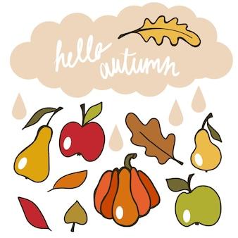 Осенние флюиды настроение осенний сезон каракули n с листьями плодов тыквы