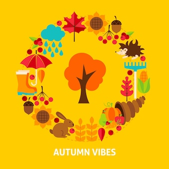 Autumn vibes postcard. stock vector illustration. fall seasonal concept.