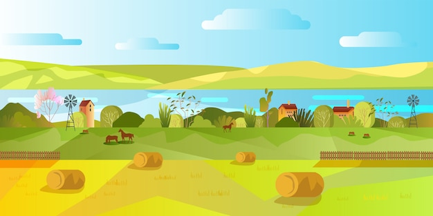 Autumn village panoramic view in flat style with wheat sheafs, fence.