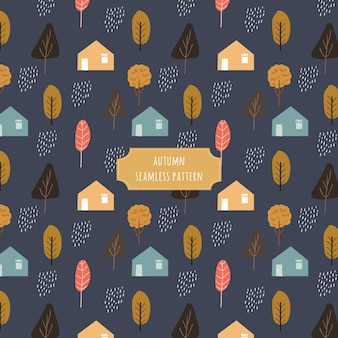 Autumn village seamless pattern with dark background