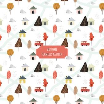 Autumn village with rain seamless pattern