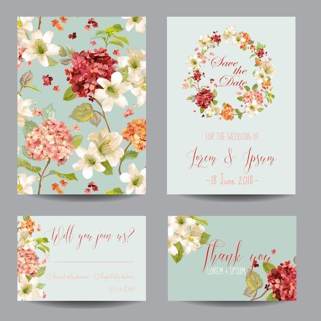 秋のヴィンテージのオルテンシアの花は、結婚式、招待状、パーティーの日付カードを保存します