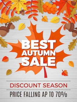 Autumn voucher of sales, orange and yellow leaves falls  of nature autumn discount banner