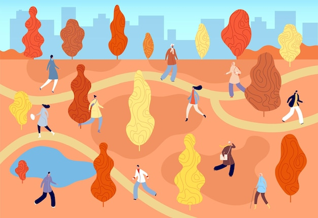 Autumn walking city park. enjoy nature, flat style girl man walk in fall forest. season outdoor weekend, active life vector illustration. active weekend city in park, walking in autumn outdoor