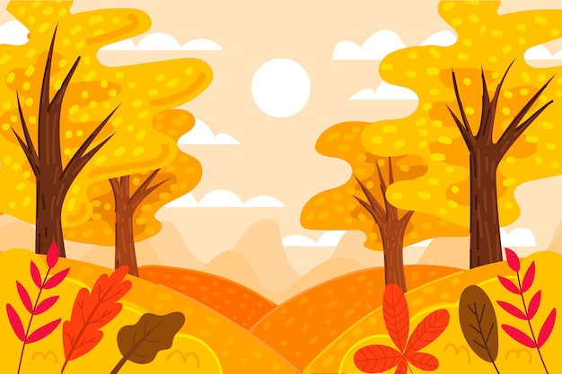 Осенние обои нарисованы