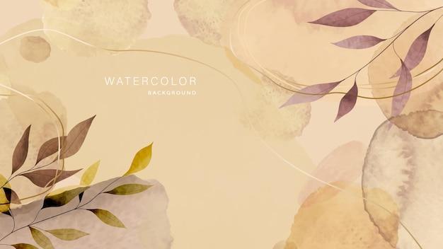 Осенний акварельный фон с листьями деревьев. абстрактная акварель ручной работы кистью для оформления дизайна.