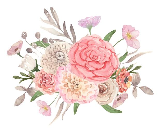 핑크 꽃과 가을 수채화 꽃다발