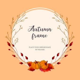 Осенний акварельный венчик с ветками и тыквами