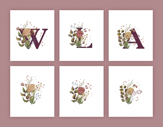 Autumn watercolor decoration for letters with gold