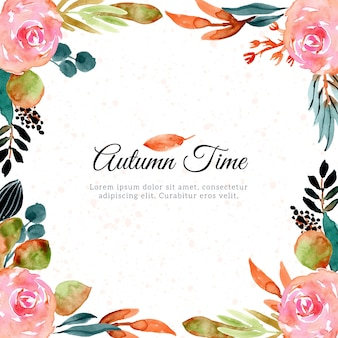 Autumn watercolor floral frame