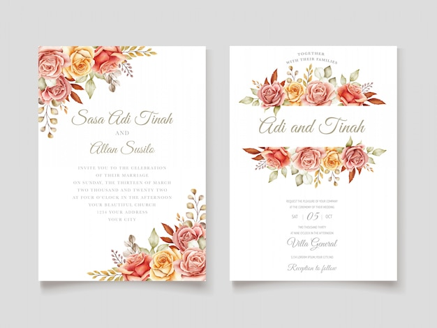 Autumn watercolor floral invitation card