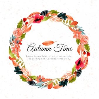 Осенний акварельный цветочный венок
