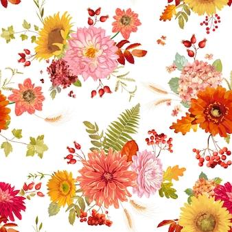 Осенние акварельные цветы бесшовный фон иллюстрации, ретро цветочные векторной осенью благодарения узор для праздников, модные ткани, текстиль, обои с ягодами, гортензия, подсолнечник, листья