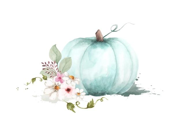 カボチャと花の葉が白い背景で隔離の秋の水彩イラスト。秋のお祭りの装飾的なグリーティングカードやポスターのデザインに最適な水彩画の手描き。