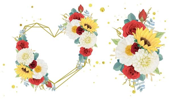 Corona d'amore ad acquerello autunnale e bouquet di dalia e rose di girasole