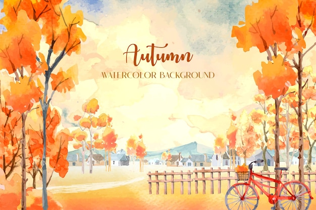 Autumn watercolor painting with many orange trees with a red bicycle on the front.