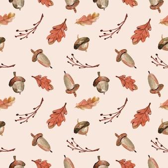 秋の水彩のシームレスパターンドングリと葉