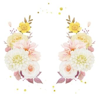 달리아와 장미의 가을 수채화 화환