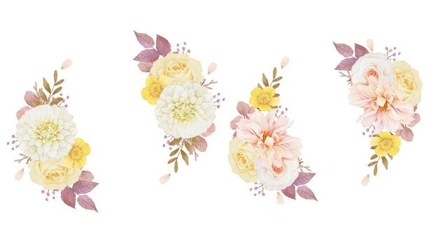 ダリアとバラの秋の水彩花輪