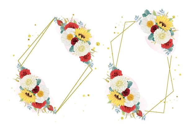 해바라기 달리아와 장미의 가을 수채화 화환