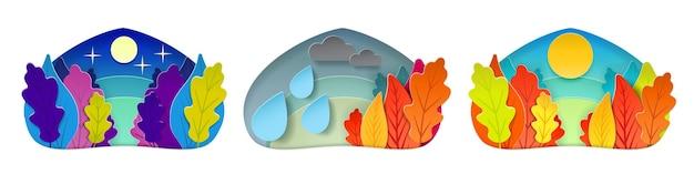 가을 날씨 조건은 구름과 비 풍경 숲으로 흐린 맑은 별이 빛나는 밤을 설정합니다.