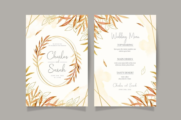 Autumn wedding invitation card with watercolor leaves and golden frame