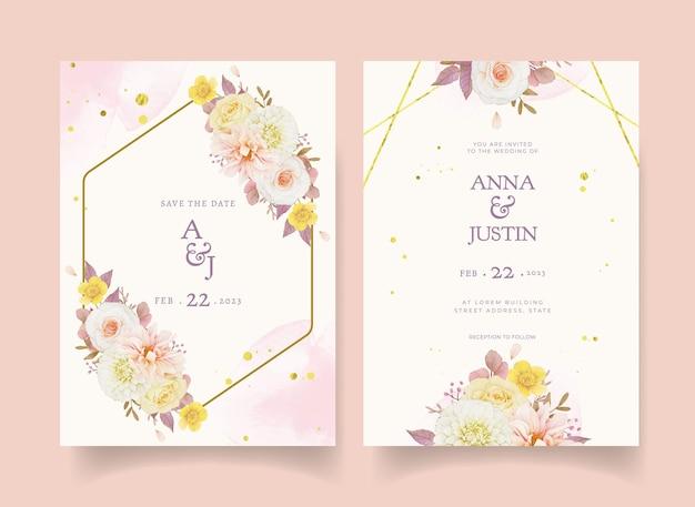 Осеннее свадебное приглашение из акварельных георгинов и роз