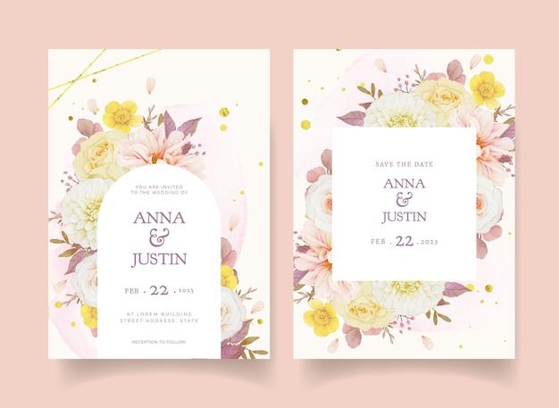 Autumn wedding invitation of watercolor dahlia and roses