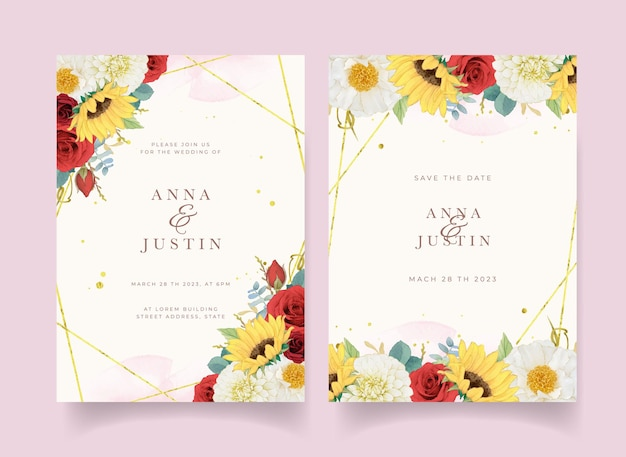 Autumn wedding invitation of watercolor sunflower dahlia and roses