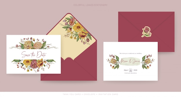 Autumn wedding save the date card