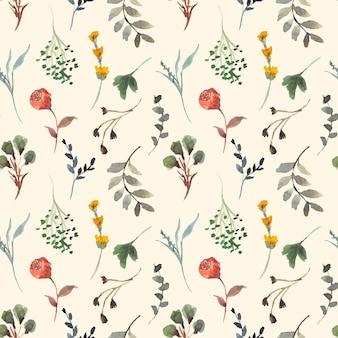 秋の野生の花の水彩画のシームレスなパターン