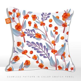 秋の野生の花のシームレスなファブリックまたはラッピングペーパーパターン、オレンジ&パープル。