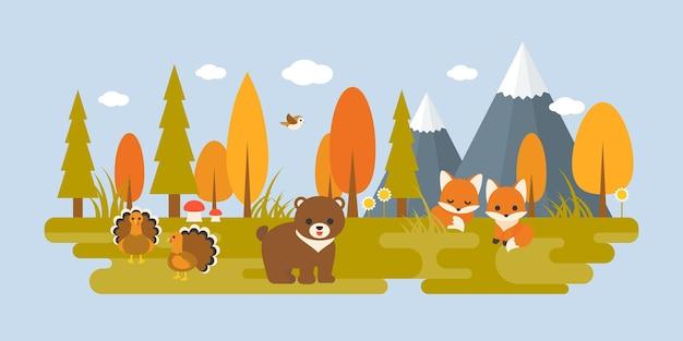 Осенний дикий с деревьями и животными в плоском дизайне