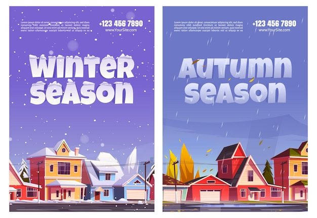 Autumn and winter seasons flyers.