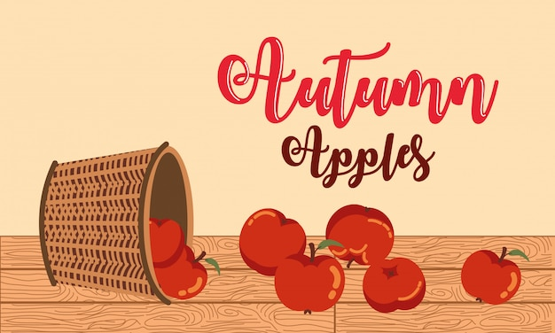 Autumn with apples in basket wicker illustration