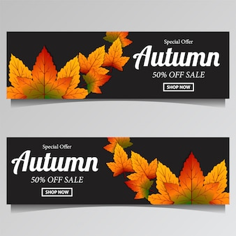 Autumn with fall leaves for sale banner