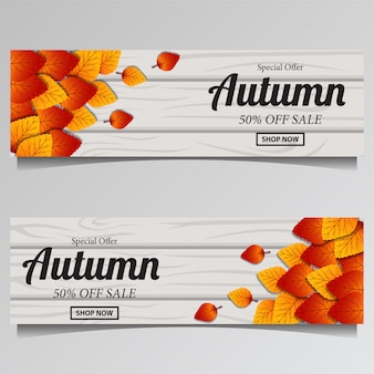 Autumn with fall leaves on the wood for sale banner