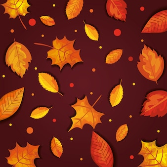 Autumn with leaves seamless pattern